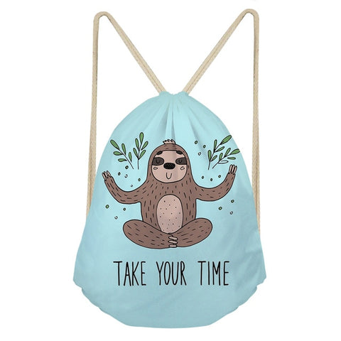 Take Your Time Sloth Drawstring Backpack