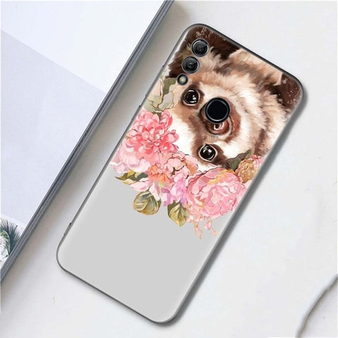 Grey Sloths And Flowers Huawei Case