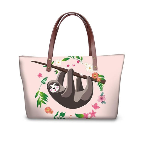 Flower Border Sloth Handle Bag