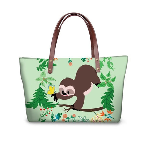 Yellow Butterfly Sloth Handle Bag