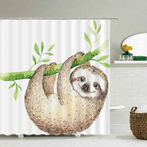 Contented Sloth Shower Curtain