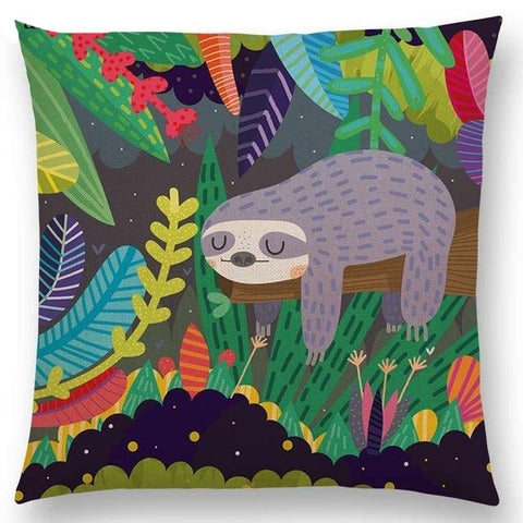 Colorful Background Sloth Cushion Cover - Sloth Gift shop