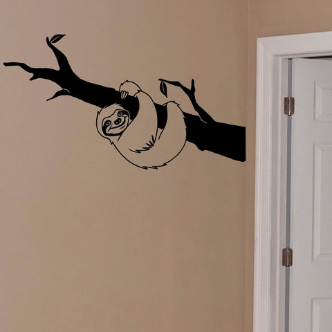 Image of Branch Hugging Sloth Wall Sticker - Sloth Gift shop