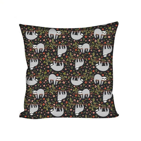 Flowers Sloth Cushion Cover - Sloth Gift shop