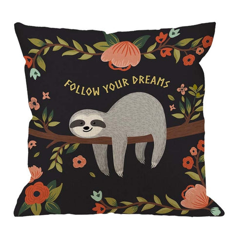 Sloth on the Tree Cushion Cover - Sloth Gift shop