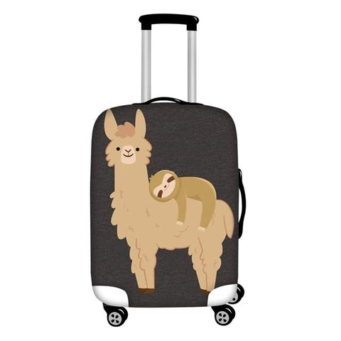 Adorable Sloth Relaxing on a Llama Luggage and Suitcase Cover