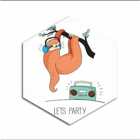 Party Sloth Animal Poster