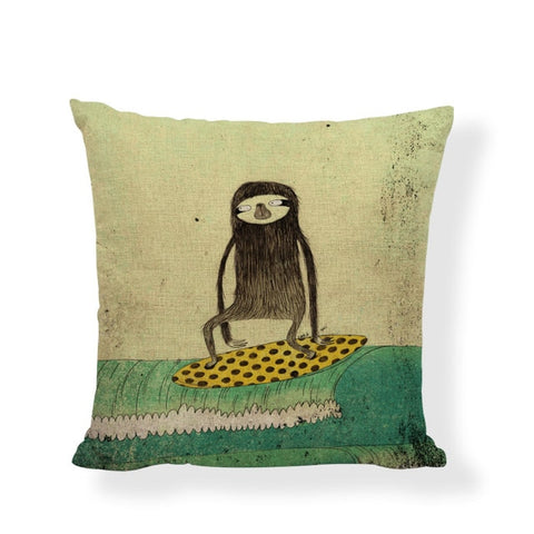 Surfer Sloth Cushion Cover