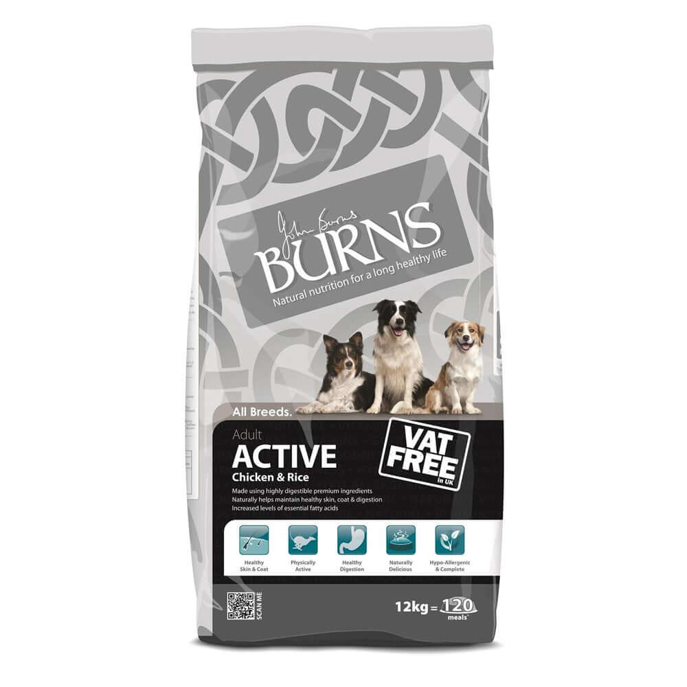 Burns Adult Dog Active For Working Dogs Chicken & Rice Dry Dog Food