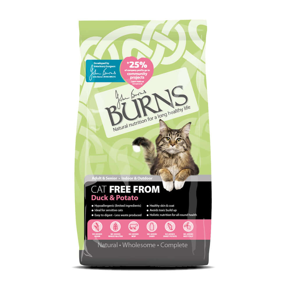 Burns Adult Cat Free From Duck and Potato Dry Cat Food