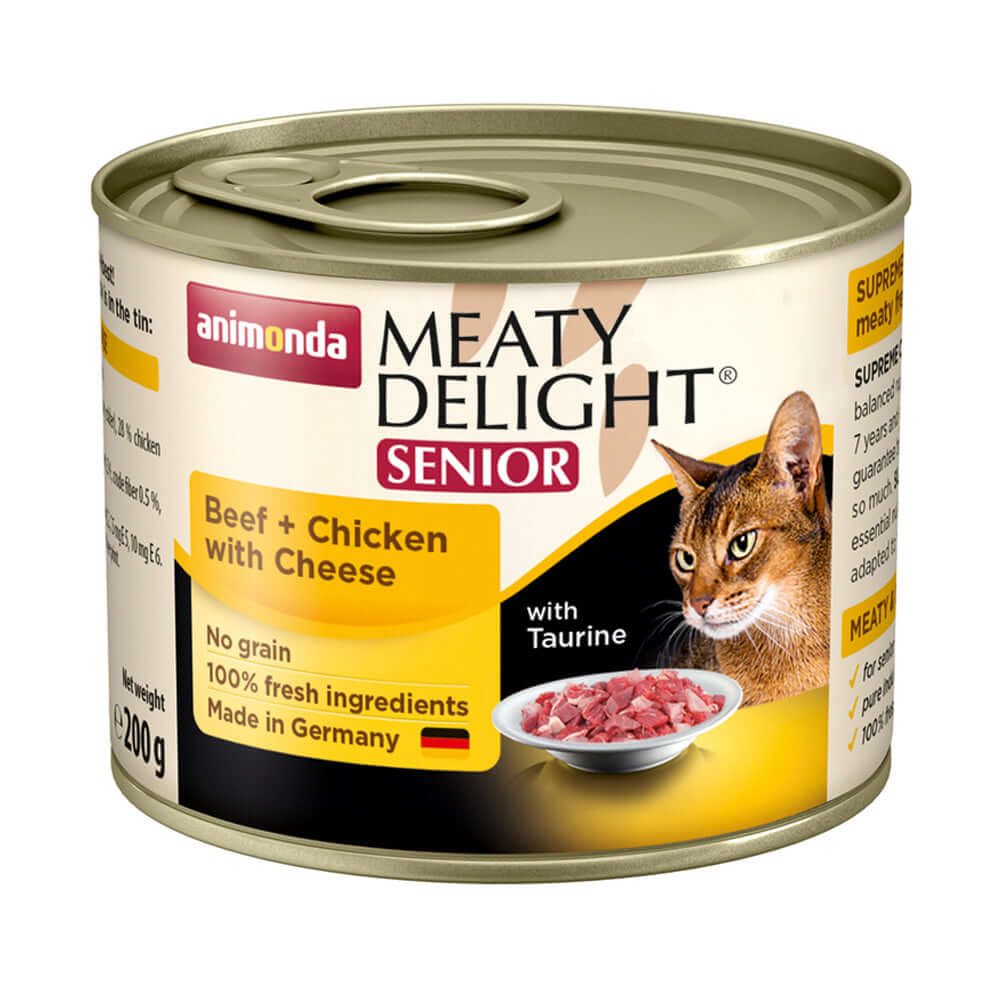 Animonda Meaty Delight Tin Beef Chicken with Cheese Senior Cat Wet Food