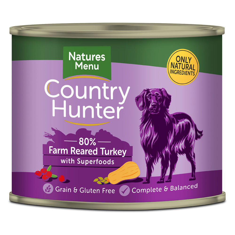 Natures Menu Country Hunter Dog Farm-Reared Turkey with Superfoods Tins Wet Dog Food