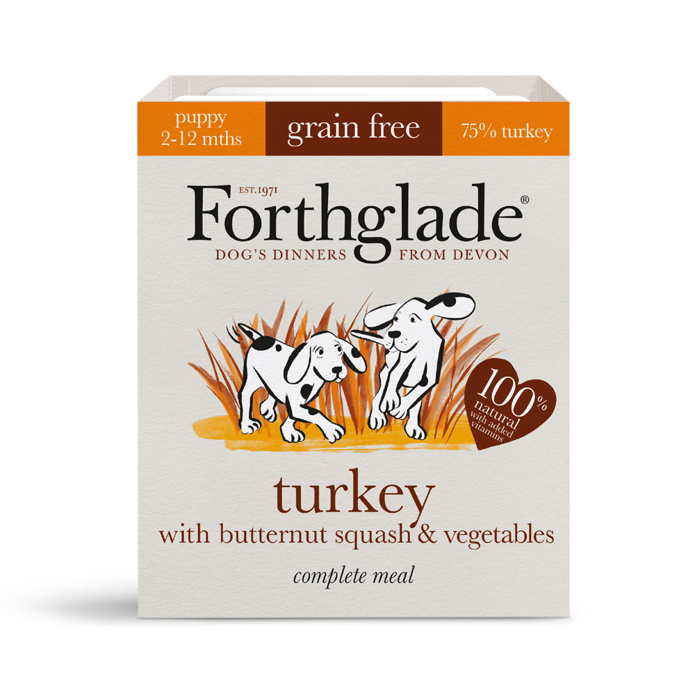 Forthglade Complete Meal Puppy Grain Free Turkey Butternut Squash & Veg Wet Dog Food