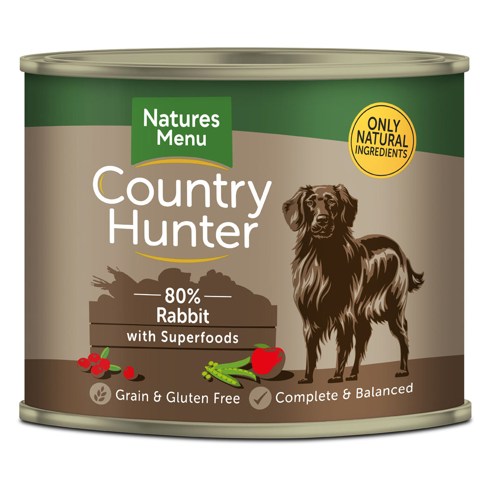Natures Menu Country Hunter Dog Rabbit with Superfoods Tins Wet Dog Food