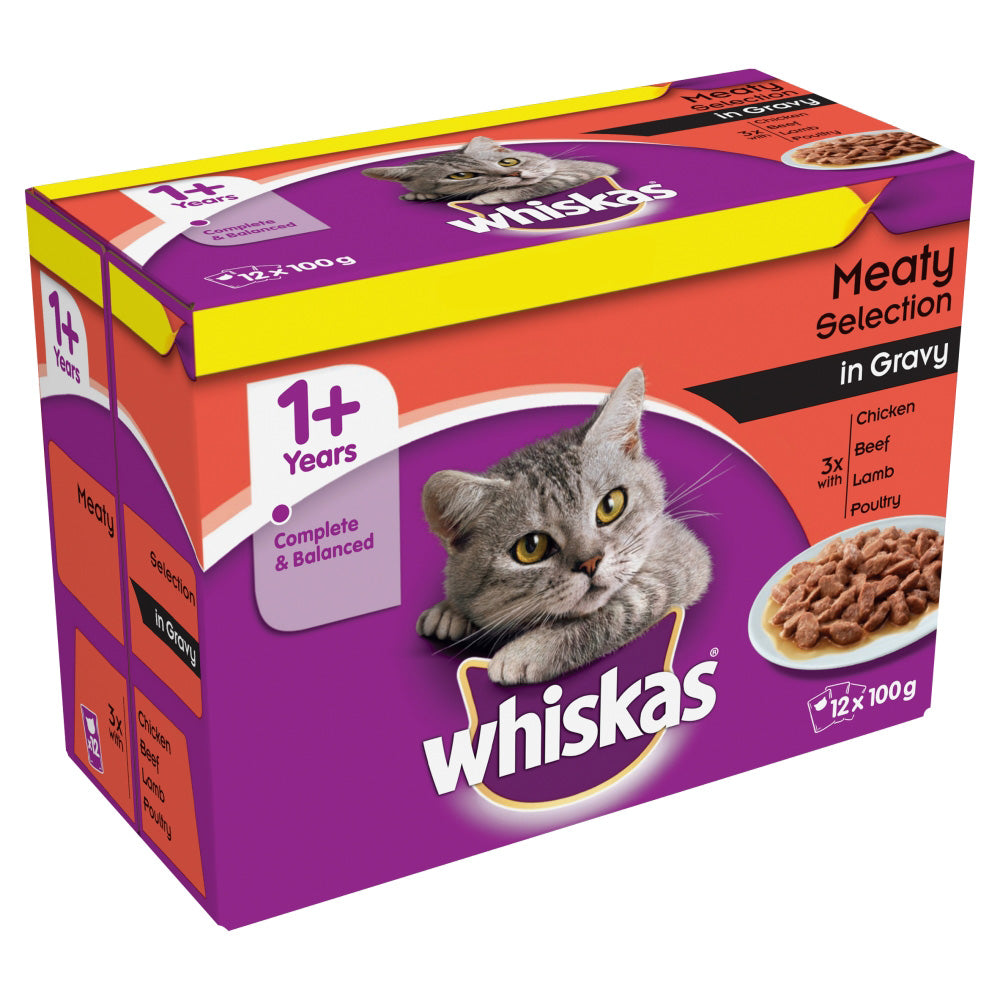 Whiskas Pouch 1+ Meat Selection Gravy Wet Cat Food