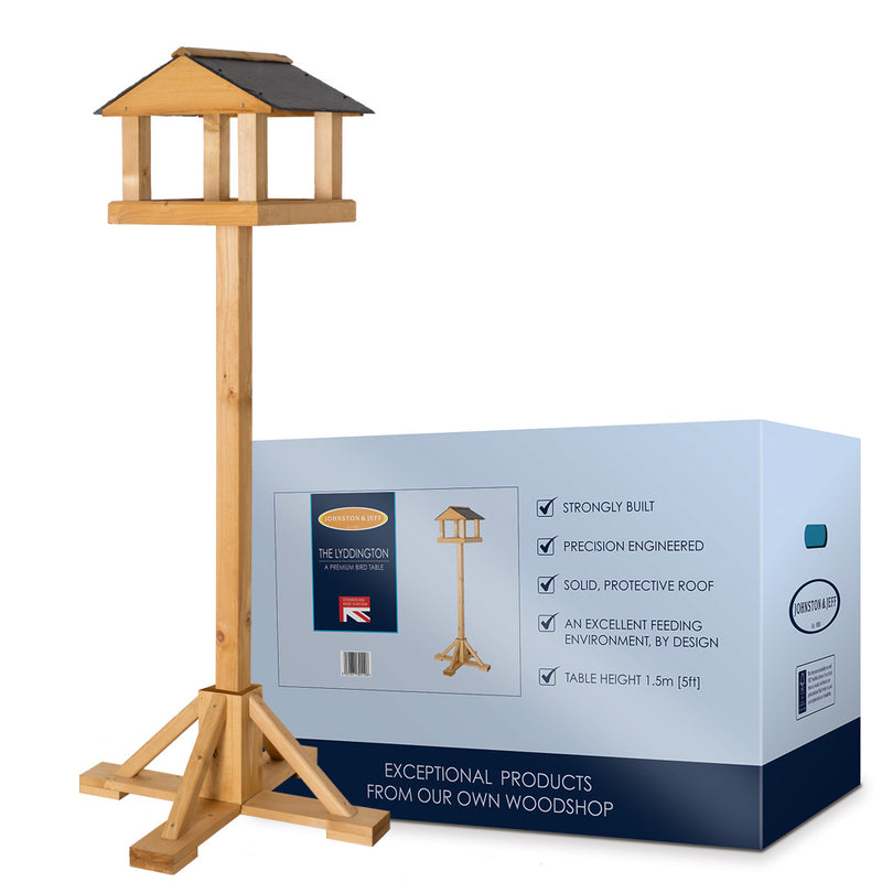Johnston & Jeff Lyddington Bird Table with Natural Slate Roof with box