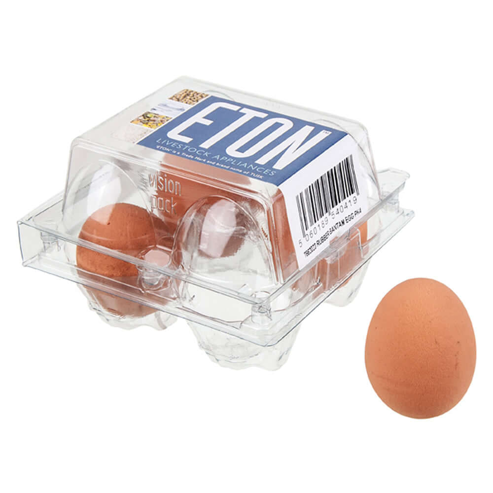 4 Eton Brown Rubber Poultry Eggs in a plastic container