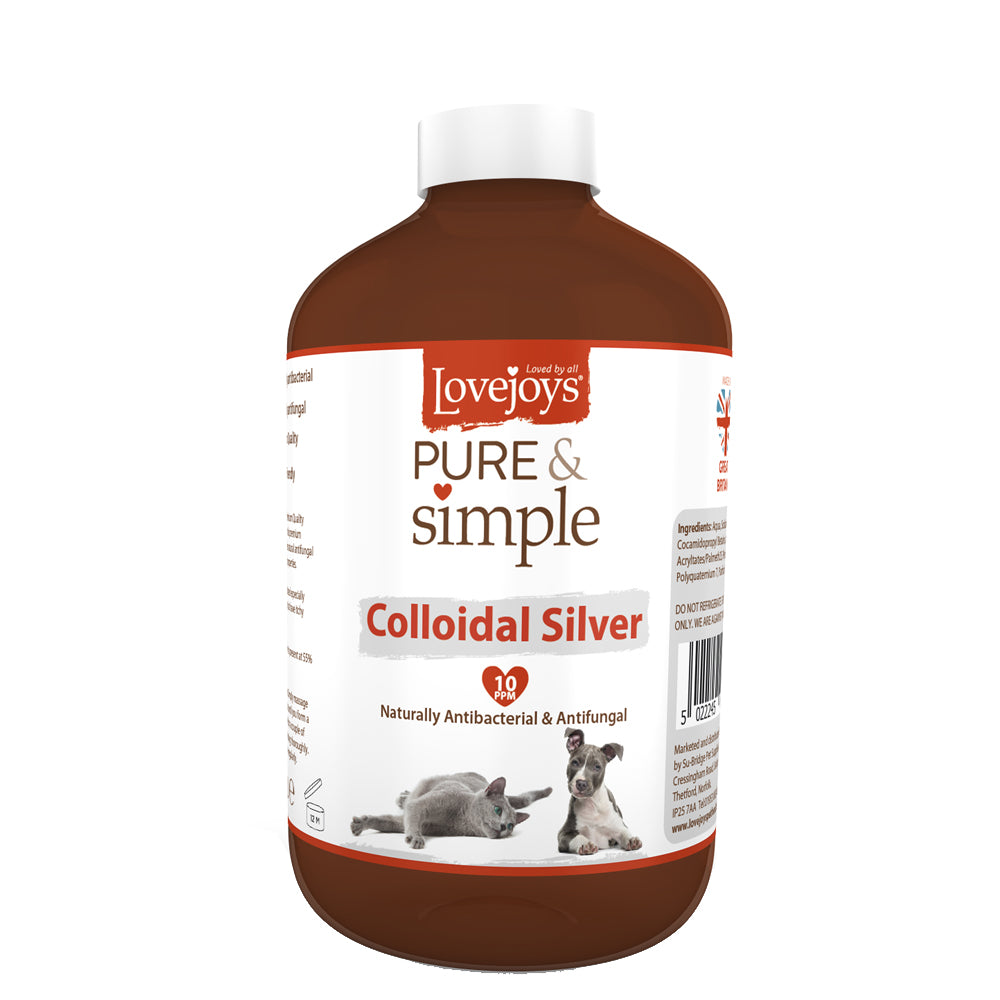 250ml bottle of Lovejoys Pure & Simple Colloidal Silver for Pets Solution