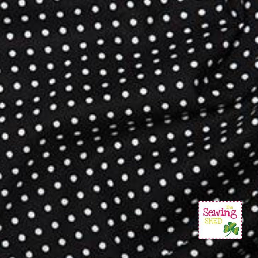 Polka Dot Fabric- Black