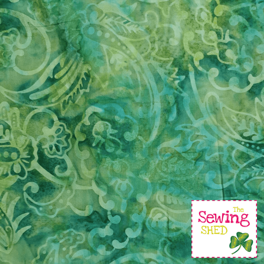 Beautiful Batik fabric Rainforest green