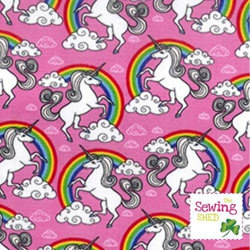 Unicorn In The Clouds Rainbow Fabric- Pink