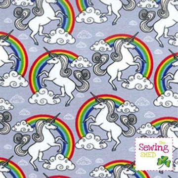 Unicorn In The Clouds Rainbow Fabric-Silver