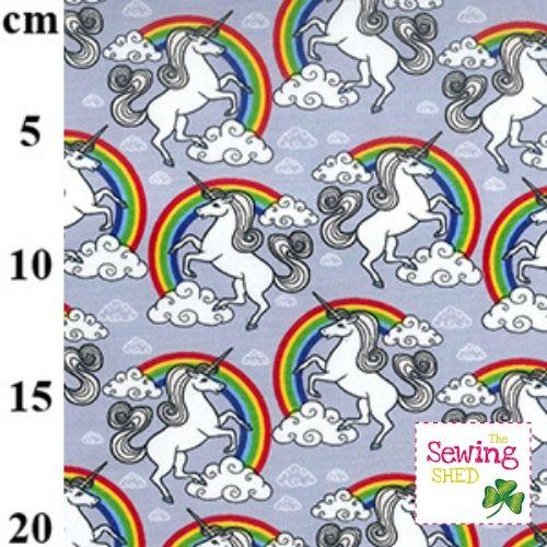Unicorn In The Clouds Rainbow Fabric- Silver