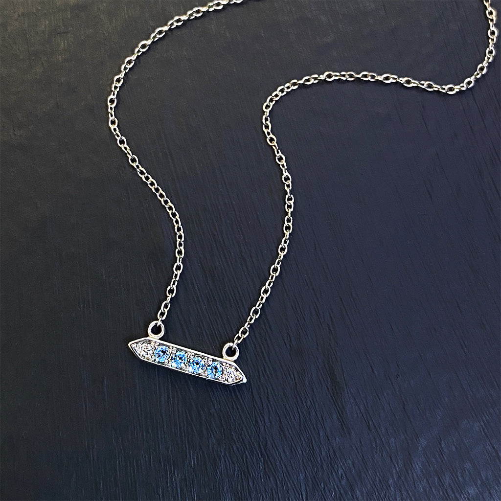 Aquamarine and Diamond Accented Bar Pendant in 10K White Gold