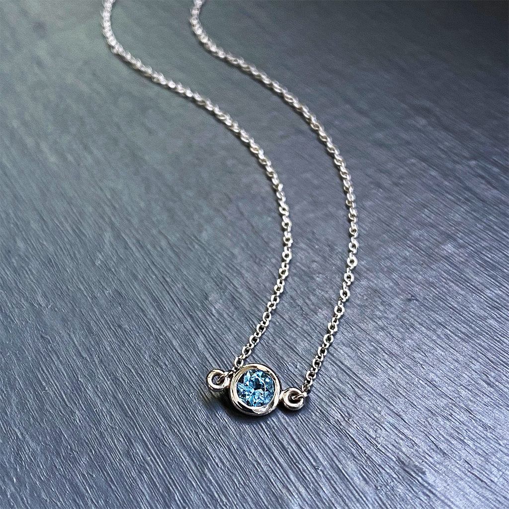 Aquamarine Floating Pendant in 14K White Gold