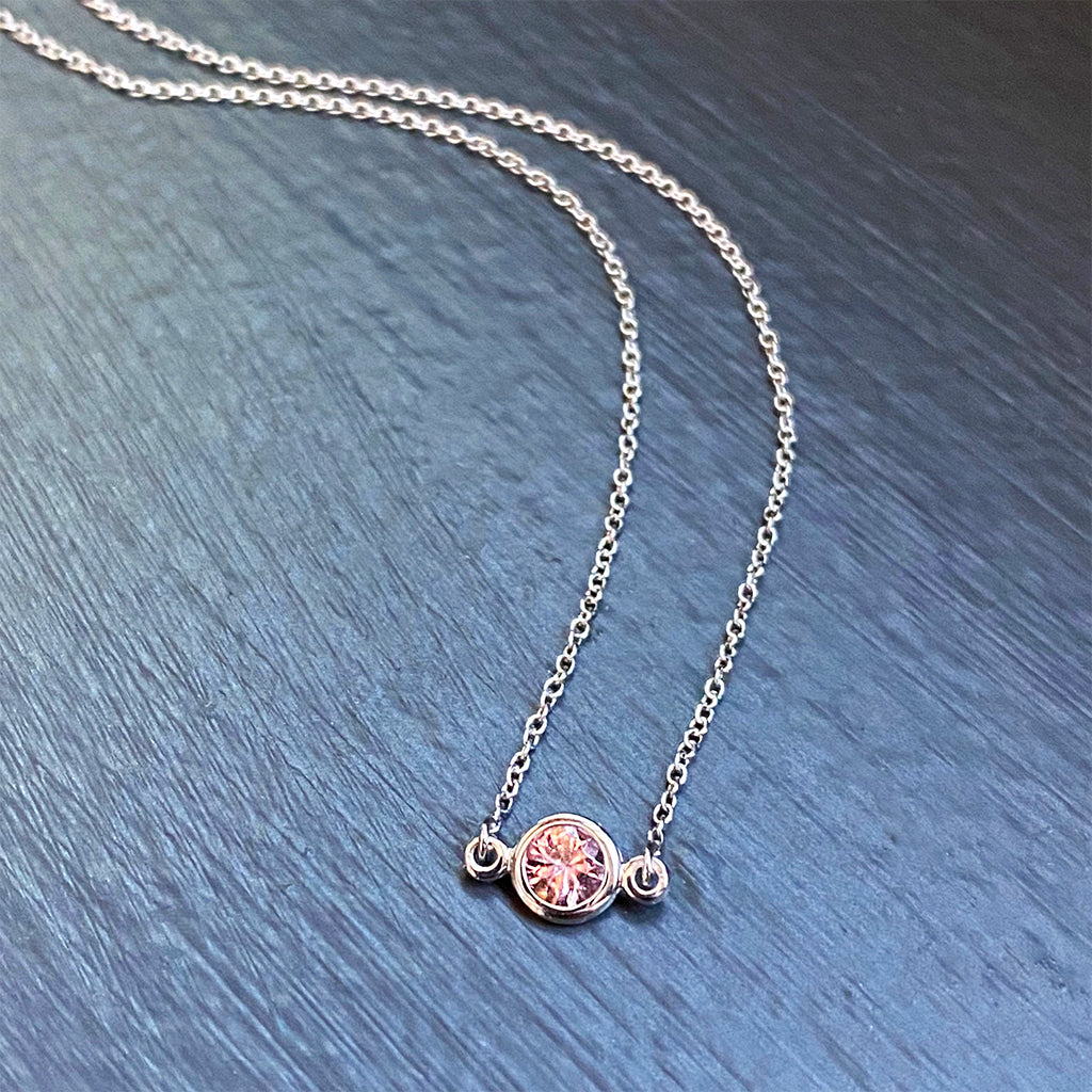 Precious Pink Topaz Floating Pendant in 14K White Gold