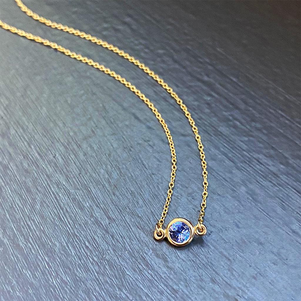 Tanzanite Floating Pendant in 14K Yellow Gold