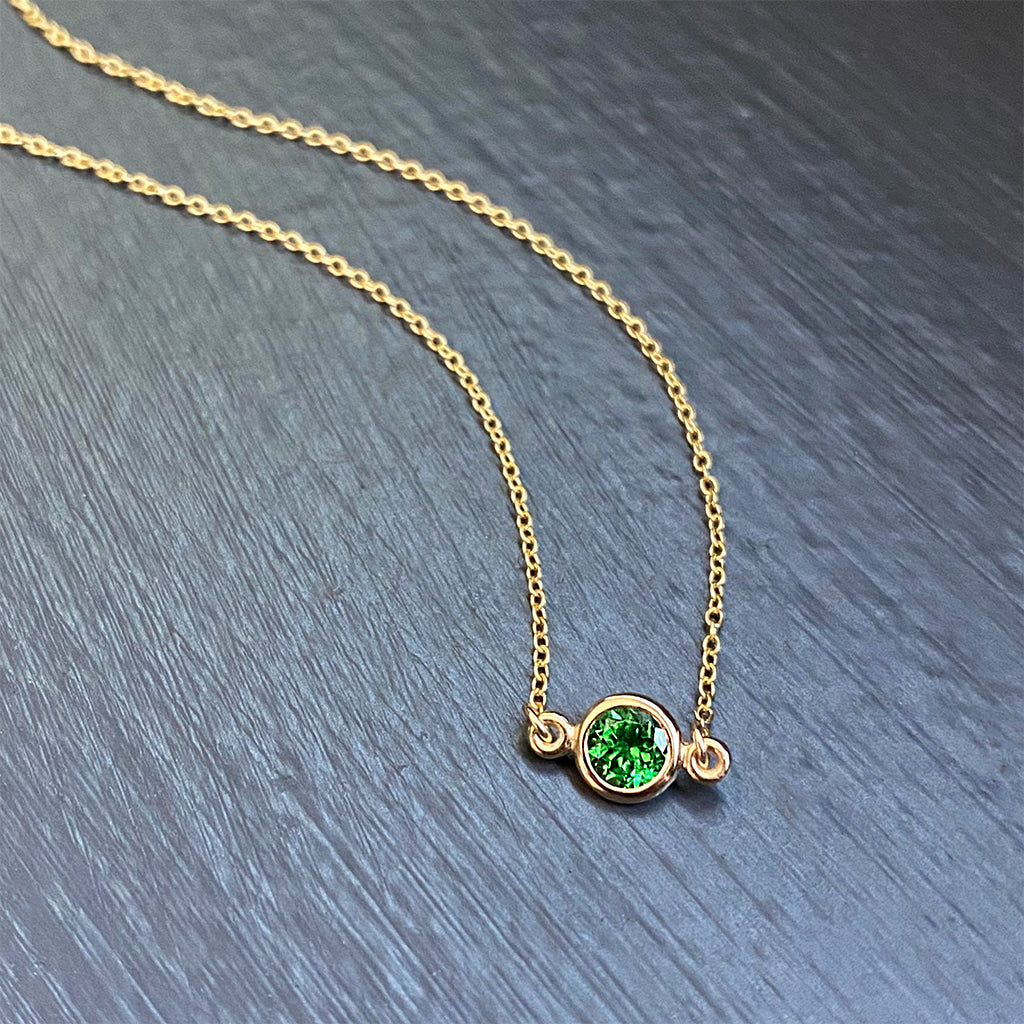 Tsavorite Garnet Floating Pendant in 14K Yellow Gold