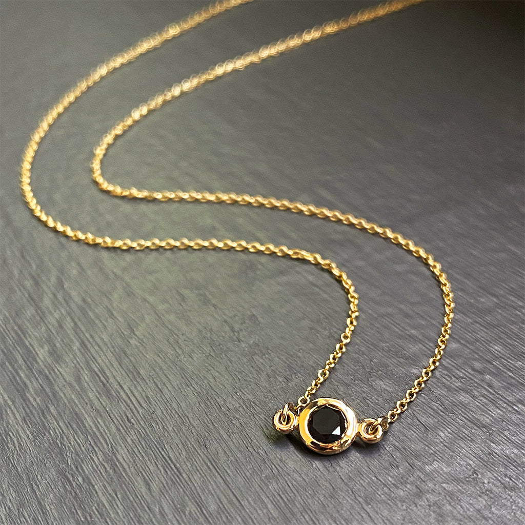 Black Diamond Floating Pendant in 14K Yellow Gold