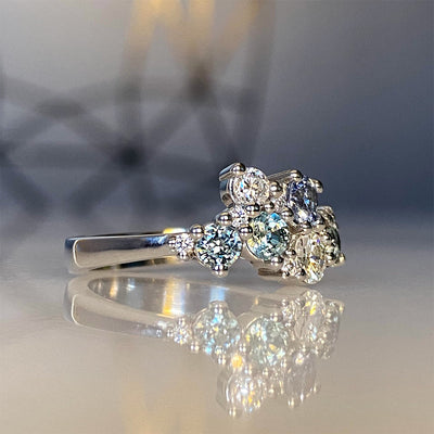 Ice Queen Montana Sapphire and Diamond Cluster Ring in Platinum