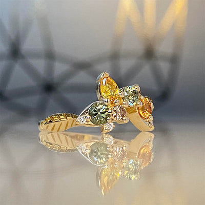Tropical Bliss Montana Sapphire Chocolate and White Diamond Ring in 14K Yellow Gold