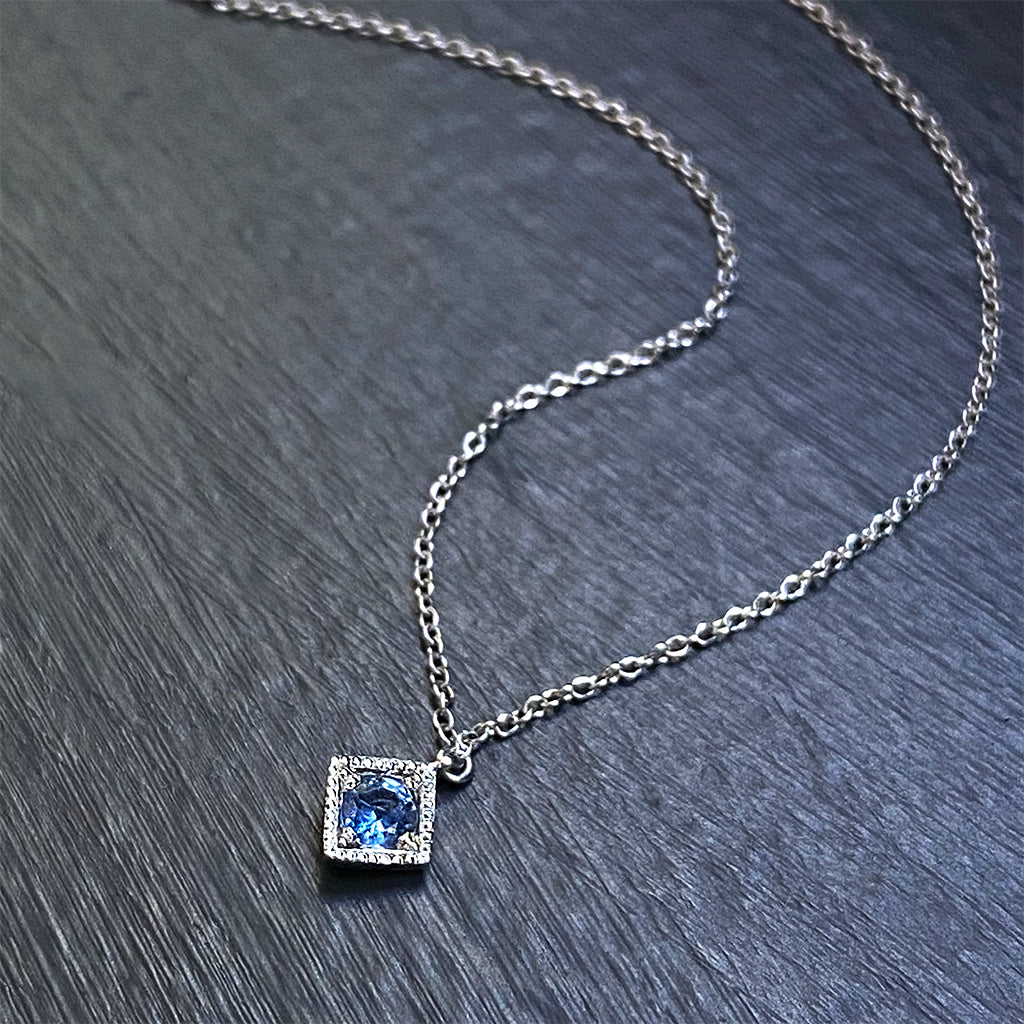 Montana Blue Sapphire Vintage Pillow Pendant with Milgrain in 10K White Gold