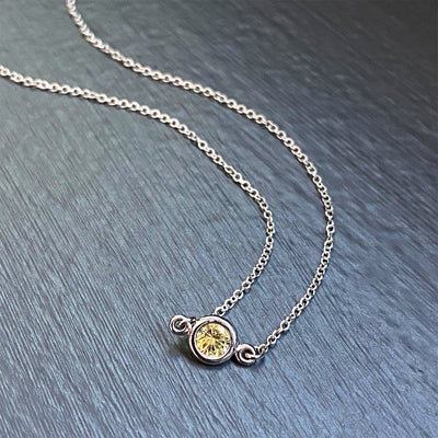 Pale Yellow Sapphire Floating Pendant in 14K White Gold