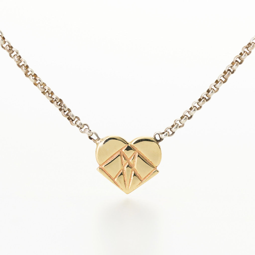 Modern Love 14K Yellow Gold Floating Heart Pendant with Sterling Silver Chain