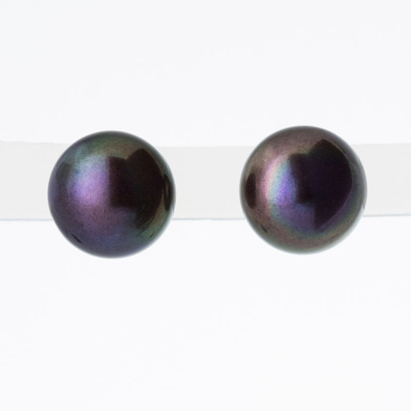 Black 10mm Button Freshwater Pearl Earrings in 14K Yellow Gold