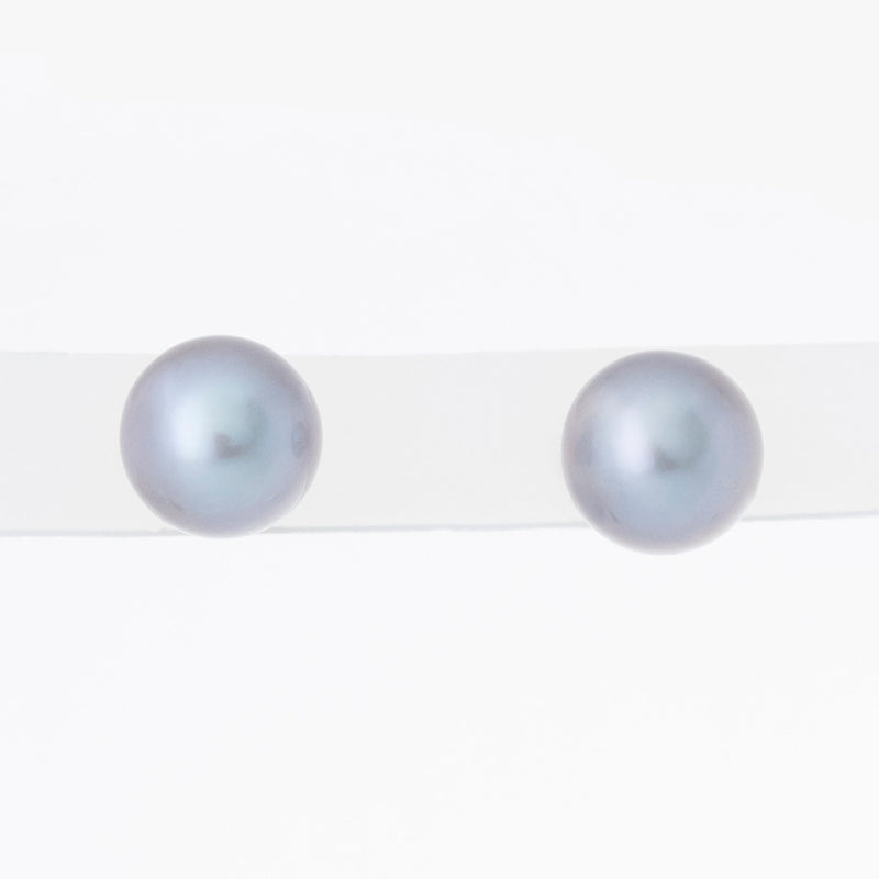 Grey Classic 6mm Freshwater Pearl Studs in 14K Yellow Gold