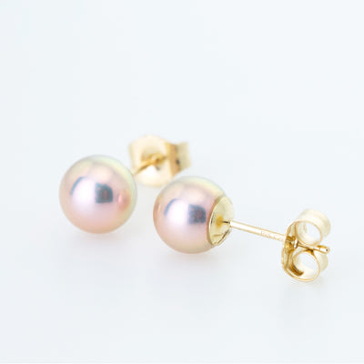 Pink Classic 6mm Freshwater Pearl Studs in 14K Yellow Gold
