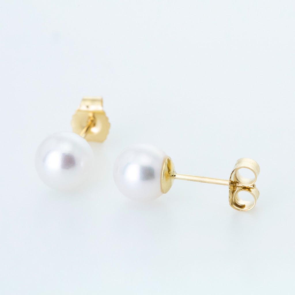 White Classic 6mm Freshwater Pearl Studs in 14K Yellow Gold