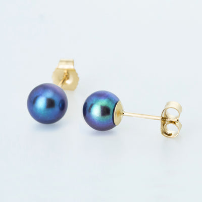 Black Classic 6mm Freshwater Pearl Studs in 14K Yellow Gold