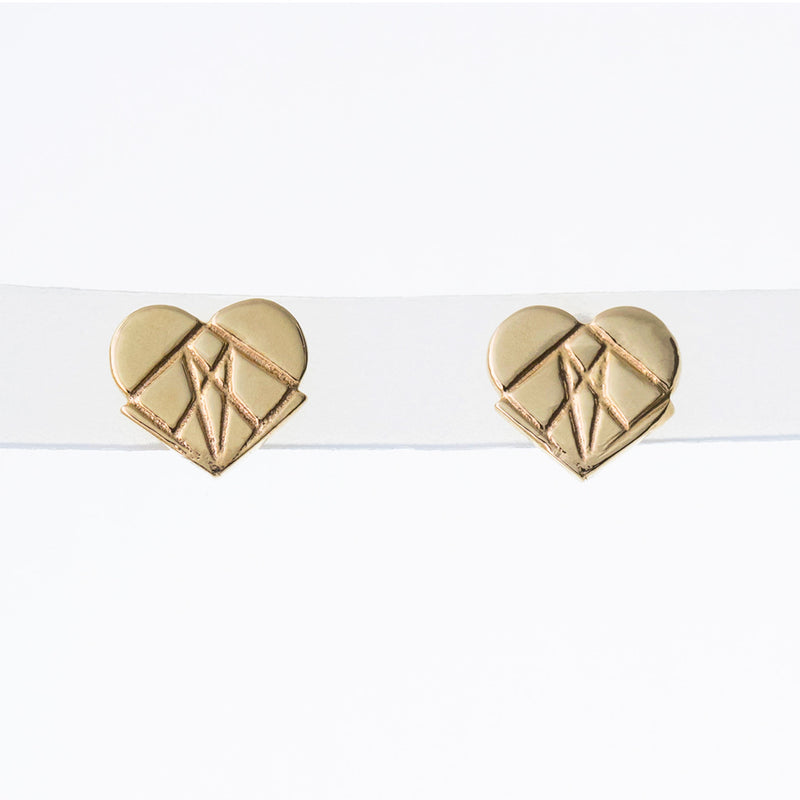 Classic Modern Love Studs in 14K Yellow Gold