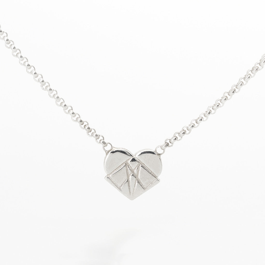 Modern Love Floating Heart Pendant in Sterling Silver