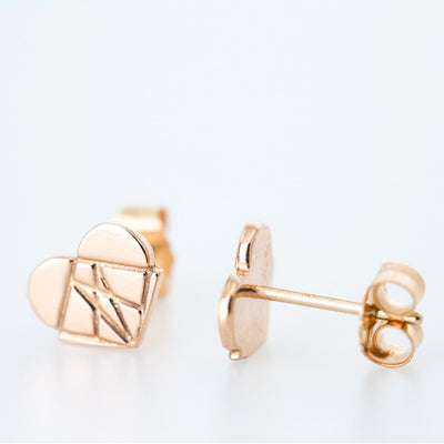 Classic Modern Love Studs in 14K Rose Gold