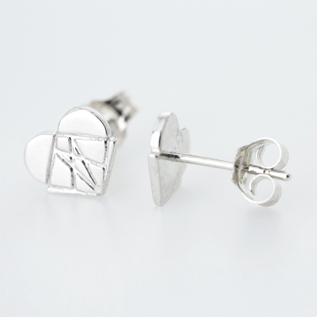 Classic Modern Love Studs in Sterling Silver
