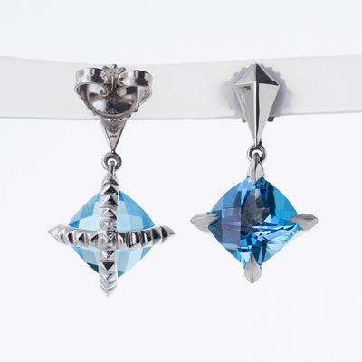 'Tender Love' Drop Earrings with Cushion Cut Blue Topaz in 14K White Gold