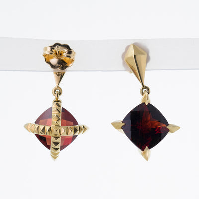 'Tender Love' Drop Earrings with Cushion Cut Red Garnet in 18K Yellow Gold