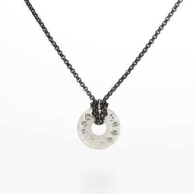 'Tender Love' Sterling Silver Pendant with Oxidized Silver Chain